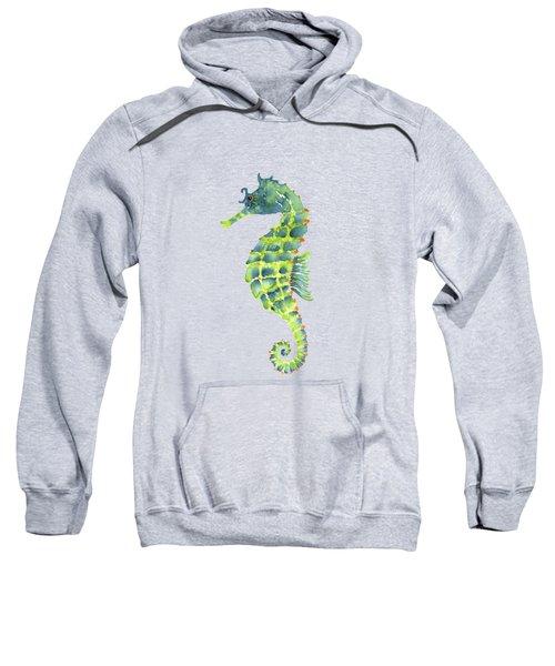 Teal Green Seahorse Sweatshirt by Amy Kirkpatrick