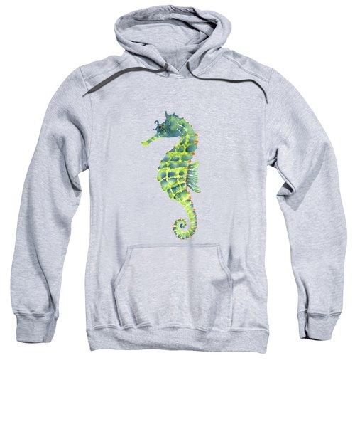 Teal Green Seahorse - Square Sweatshirt by Amy Kirkpatrick