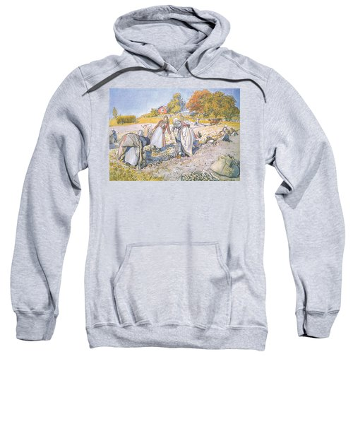 The Children Filled The Buckets And Baskets With Potatoes Sweatshirt by Carl Larsson