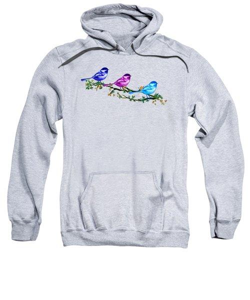 Three Chickadees Sweatshirt by Teresa Ascone
