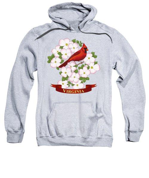 Virginia State Bird Cardinal And Flowering Dogwood Sweatshirt by Crista Forest
