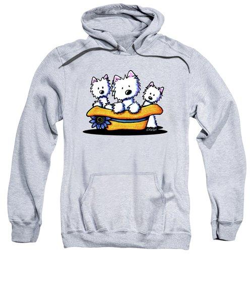 Westie Hat Trio Sweatshirt by Kim Niles