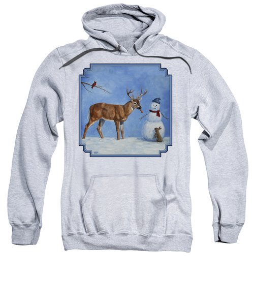Whitetail Deer And Snowman - Whose Carrot? Sweatshirt by Crista Forest