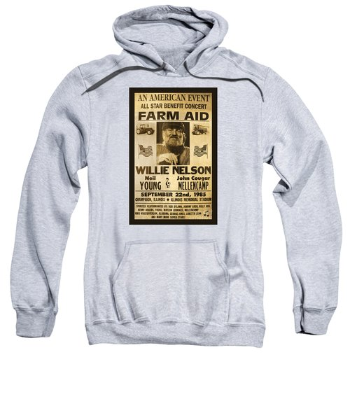 Willie Nelson Neil Young 1985 Farm Aid Poster Sweatshirt by John Stephens