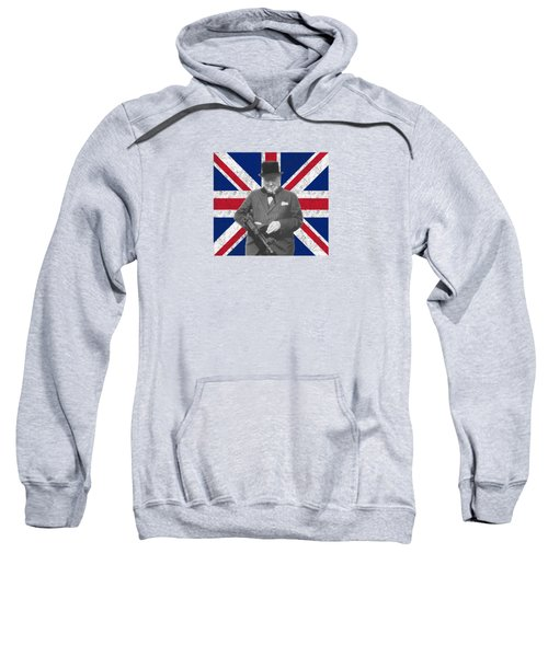 Winston Churchill And His Flag Sweatshirt by War Is Hell Store