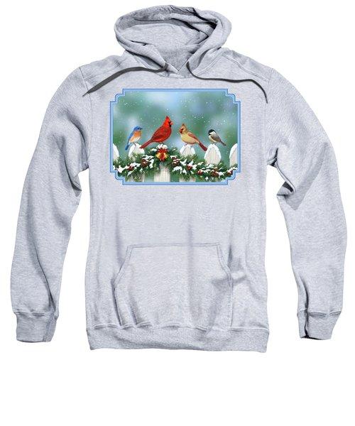 Winter Birds And Christmas Garland Sweatshirt by Crista Forest
