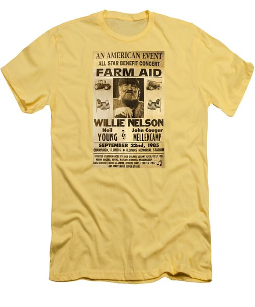 Vintage Willie Nelson 1985 Farm Aid Poster Men's T-Shirt (Slim Fit) by John Stephens