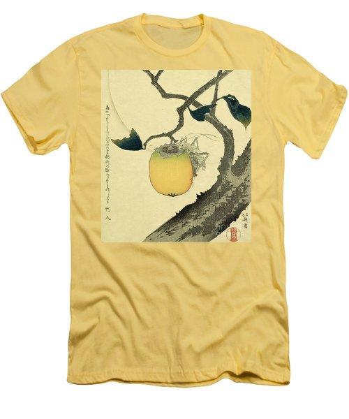 Moon Persimmon And Grasshopper Men's T-Shirt (Slim Fit) by Katsushika Hokusai