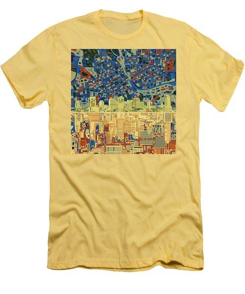 Nashville Skyline Abstract 9 Men's T-Shirt (Slim Fit) by Bekim Art
