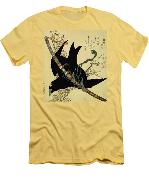 The Little Raven With The Minamoto Clan Sword Men's T-Shirt (Slim Fit) by Katsushika Hokusai