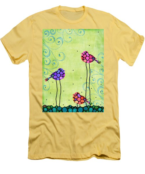 Three Birds - Spring Art By Sharon Cummings Men's T-Shirt (Slim Fit) by Sharon Cummings