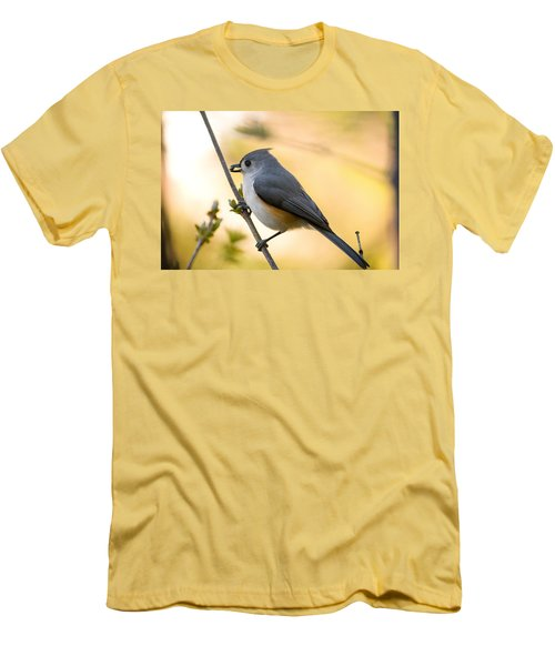 Titmouse In Gold Men's T-Shirt (Slim Fit) by Shane Holsclaw