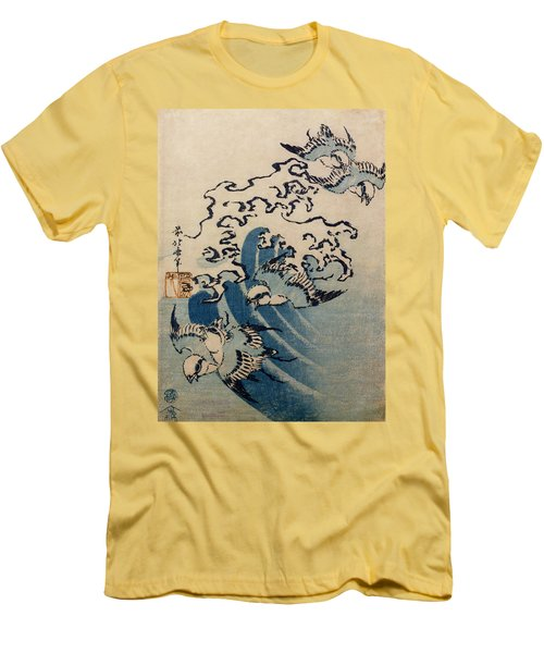 Waves And Birds Men's T-Shirt (Slim Fit) by Katsushika Hokusai