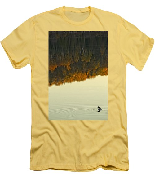 Loon In Opeongo Lake With Reflection Men's T-Shirt (Slim Fit) by Robert Postma