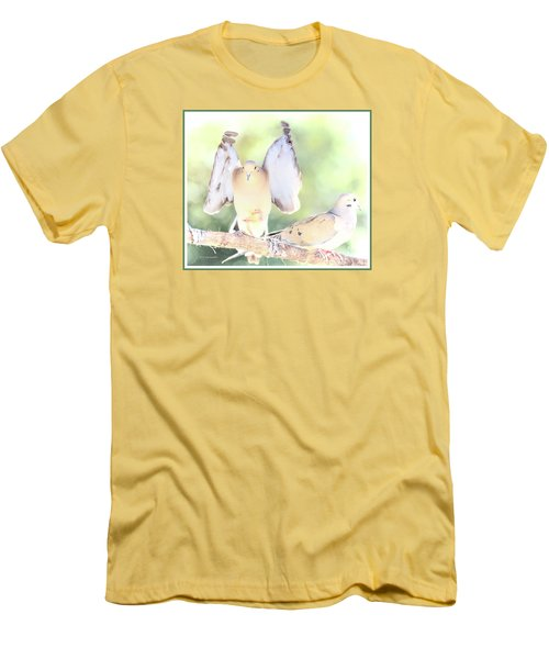 Men's T-Shirt (Slim Fit) featuring the digital art Mourning Dove Pair  by A Gurmankin