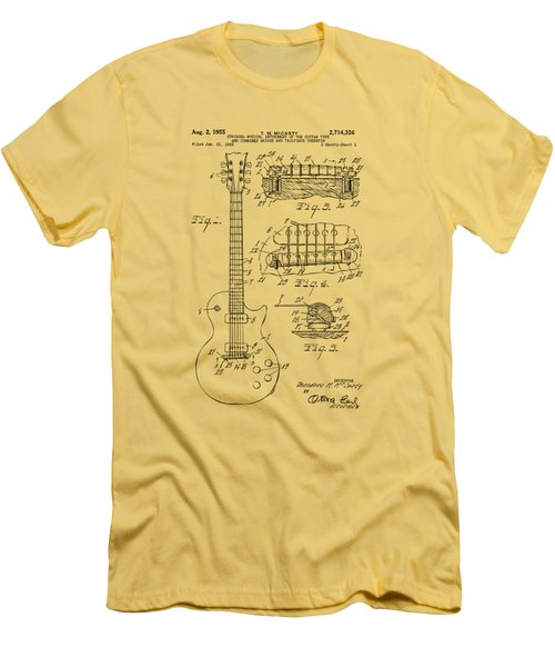 1955 Mccarty Gibson Les Paul Guitar Patent Artwork Vintage Men's T-Shirt (Slim Fit) by Nikki Marie Smith