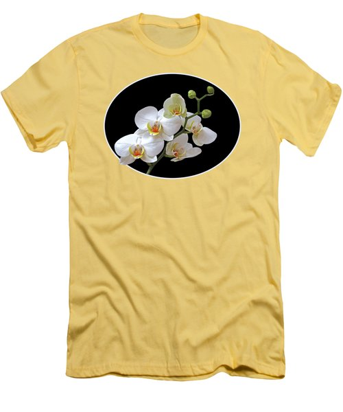 Orchids On Black And Gold Men's T-Shirt (Slim Fit) by Gill Billington