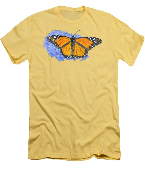 Monarch Butterfly And Hydrangea- Transparent Background Men's T-Shirt (Slim Fit) by Sarah Batalka