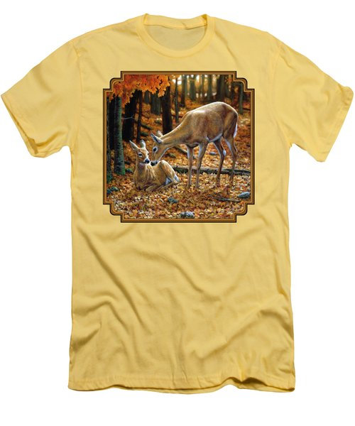 Whitetail Deer - Autumn Innocence 2 Men's T-Shirt (Slim Fit) by Crista Forest