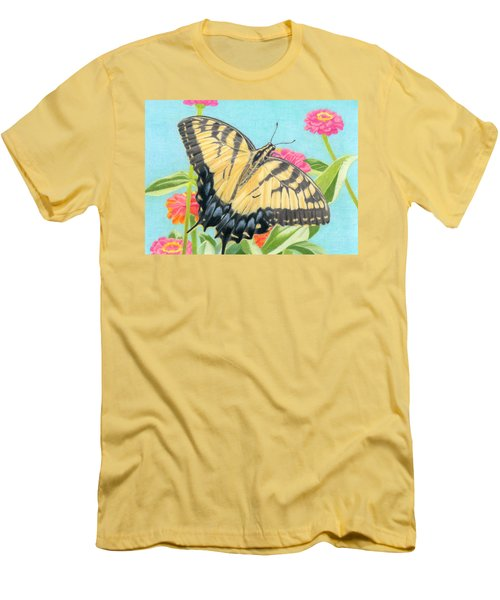 Swallowtail Butterfly And Zinnias Men's T-Shirt (Slim Fit) by Sarah Batalka