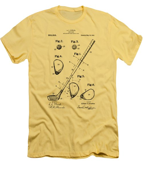 Vintage 1910 Golf Club Patent Artwork Men's T-Shirt (Slim Fit) by Nikki Marie Smith