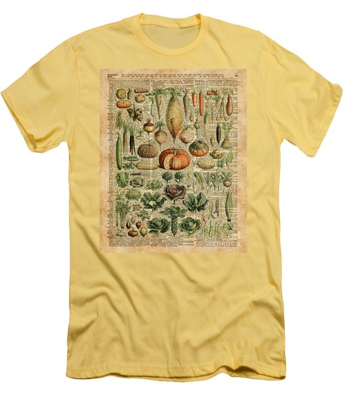 Autumn Fall Vegetables Kiche Harvest Thanksgiving Dictionary Art Vintage Cottage Chic Men's T-Shirt (Slim Fit) by Jacob Kuch