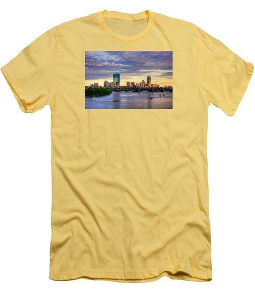 Boston Skyline Sunset Over Back Bay Men's T-Shirt (Slim Fit) by Joann Vitali