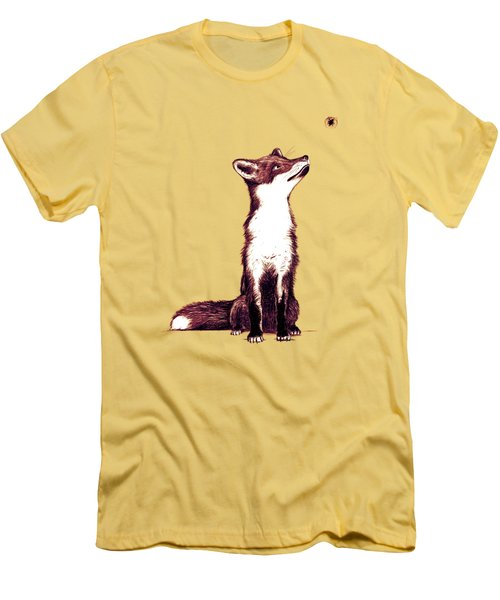Brown Fox Looks At Thing Men's T-Shirt (Slim Fit) by Nicholas Ely