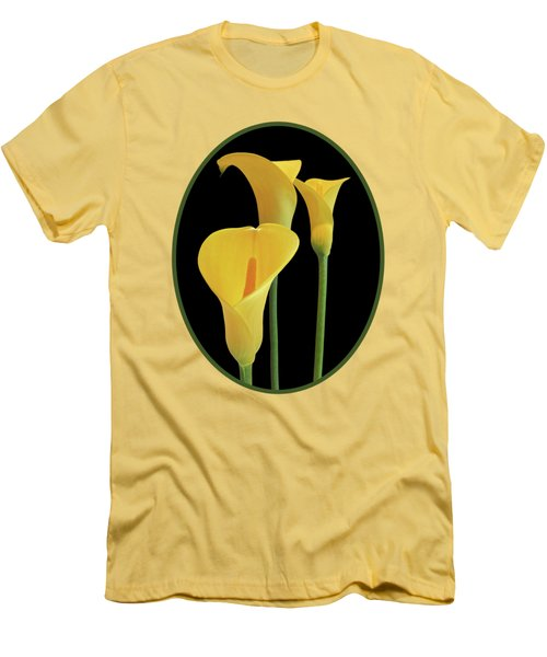 Calla Lilies - Yellow On Black Men's T-Shirt (Slim Fit) by Gill Billington