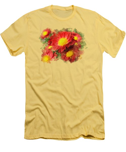 Chrysanthemum Watercolor Art Men's T-Shirt (Slim Fit) by Christina Rollo