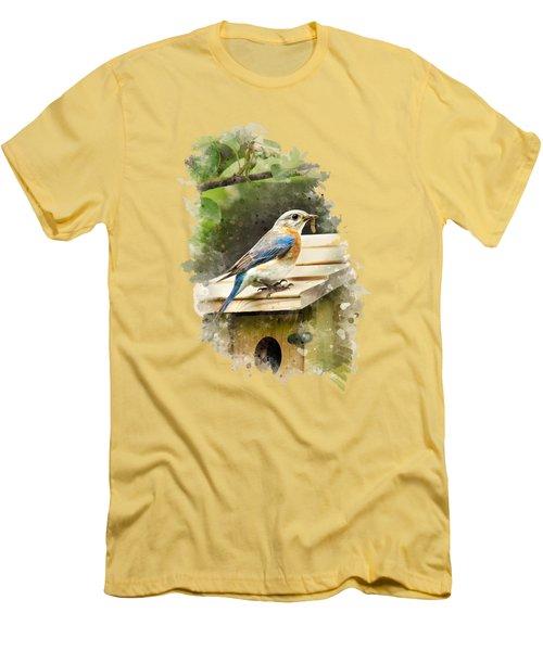 Eastern Bluebird Watercolor Art Men's T-Shirt (Slim Fit) by Christina Rollo