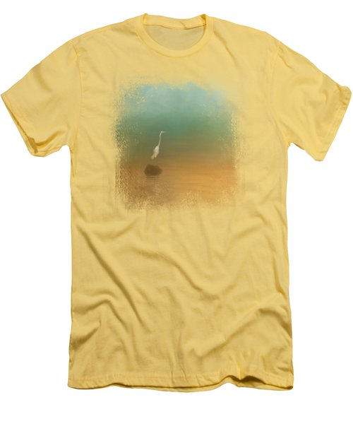 Egret At Sea Men's T-Shirt (Slim Fit) by Jai Johnson