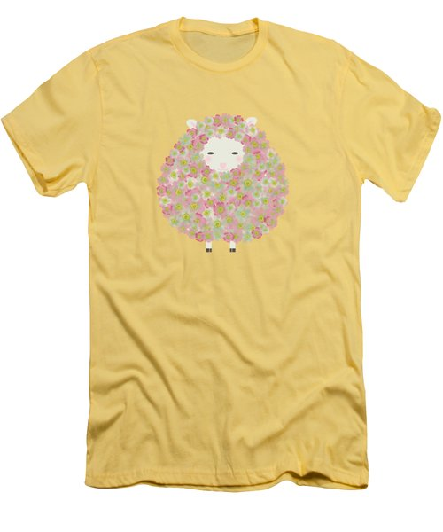 Flowery Sheep Men's T-Shirt (Slim Fit) by Brigitte Carre