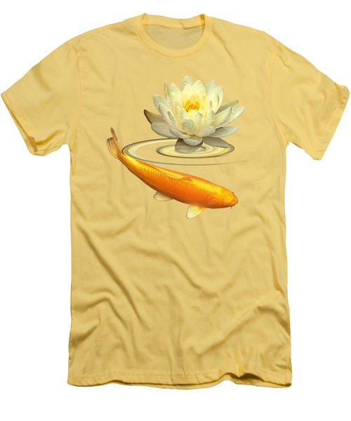 Golden Harmony - Koi Carp With Water Lily Men's T-Shirt (Slim Fit) by Gill Billington
