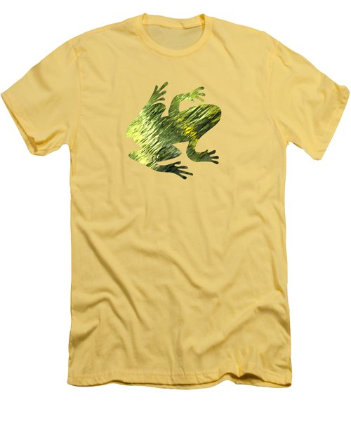 Green Abstract Water Reflection Men's T-Shirt (Slim Fit) by Christina Rollo