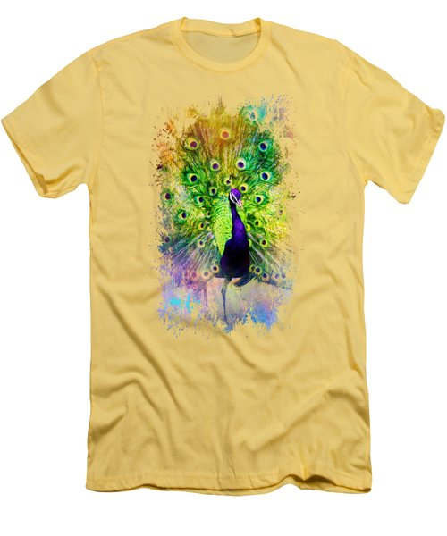 Jazzy Peacock Colorful Bird Art By Jai Johnson Men's T-Shirt (Slim Fit) by Jai Johnson