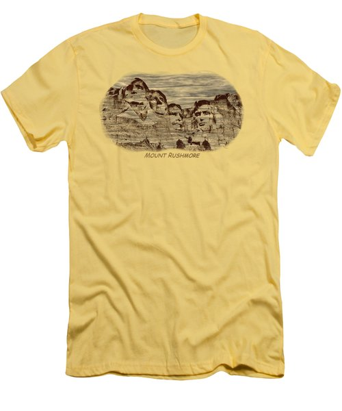 Mount Rushmore Woodburning 2 Men's T-Shirt (Slim Fit) by John M Bailey