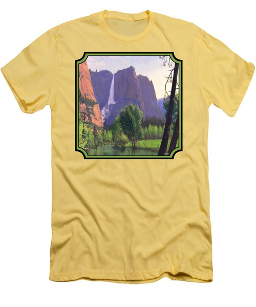 Mountains Waterfall Stream Western Landscape - Square Format Men's T-Shirt (Slim Fit) by Walt Curlee
