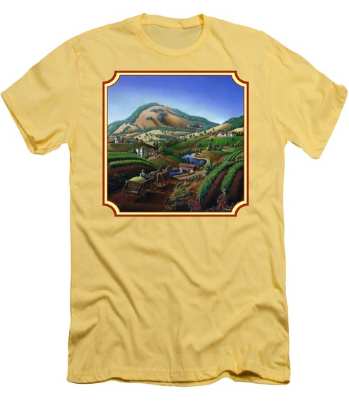 Old Wine Country Landscape Painting - Worker Delivering Grape To The Winery -square Format Image Men's T-Shirt (Slim Fit) by Walt Curlee