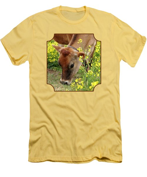 Pretty Jersey Cow - Vertical Men's T-Shirt (Slim Fit) by Gill Billington