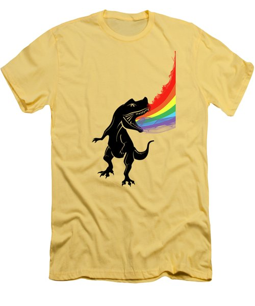 Rainbow Dinosaur Men's T-Shirt (Slim Fit) by Mark Ashkenazi