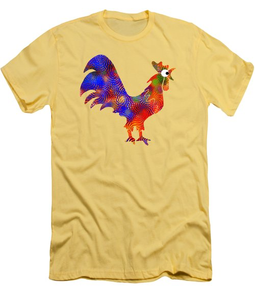 Red Rooster Art Men's T-Shirt (Slim Fit) by Christina Rollo