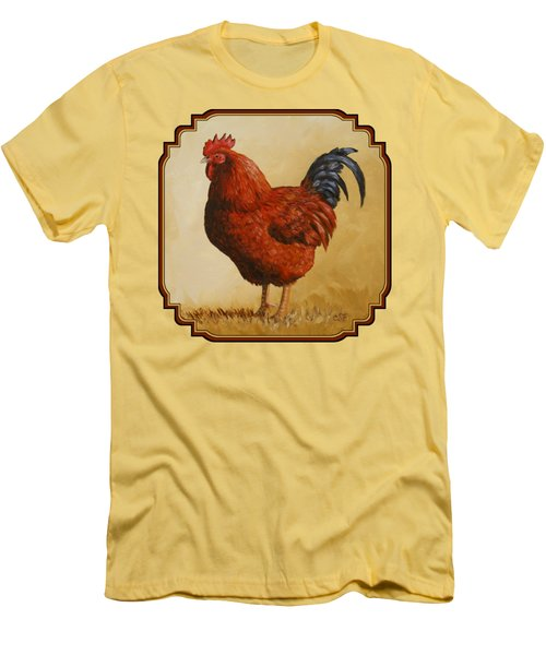 Rhode Island Red Rooster Men's T-Shirt (Slim Fit) by Crista Forest