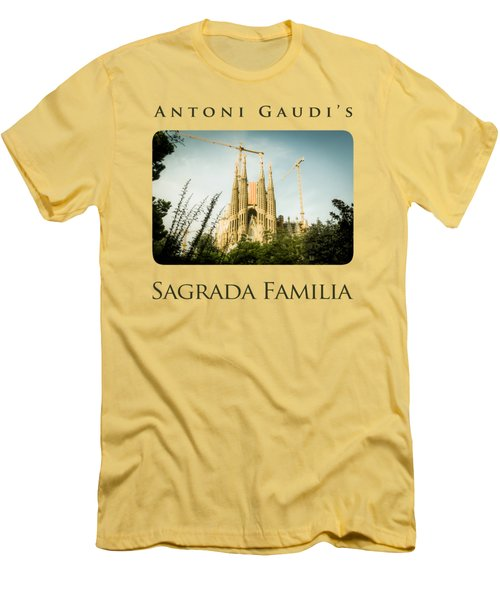 Sagrada Familia With Catalonia's Flag Men's T-Shirt (Slim Fit) by Alejandro Ascanio