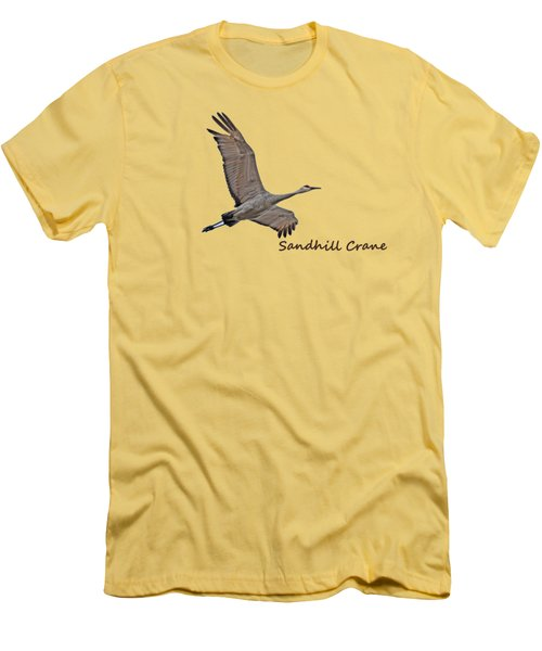 Sandhill Crane In Flight Men's T-Shirt (Slim Fit) by Whispering Peaks Photography