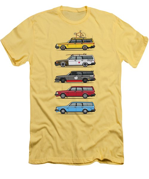 Stack Of Volvo 200 Series 245 Wagons Men's T-Shirt (Slim Fit) by Monkey Crisis On Mars