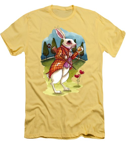The White Rabbit Is Late Men's T-Shirt (Slim Fit) by Lucia Stewart