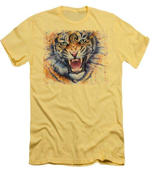 Tiger Watercolor Portrait Men's T-Shirt (Slim Fit) by Olga Shvartsur