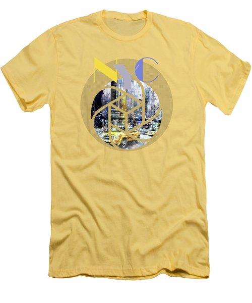 Trendy Design New York City Geometric Mix No 3 Men's T-Shirt (Slim Fit) by Melanie Viola