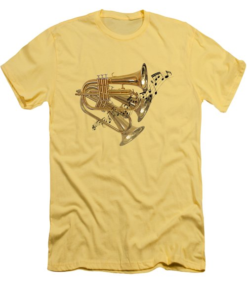 Trumpet Fanfare Men's T-Shirt (Slim Fit) by Gill Billington